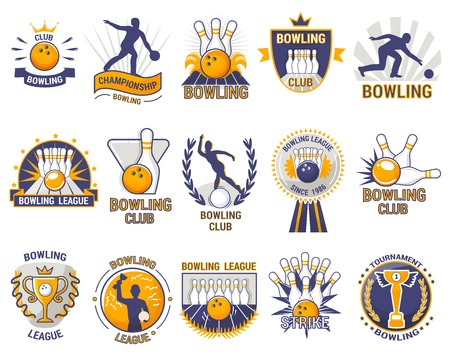 Bowling logo vector bowler sport game with alley or bowling ball skittles and strike on tournament or league in bowl club isolated on white background Illustration