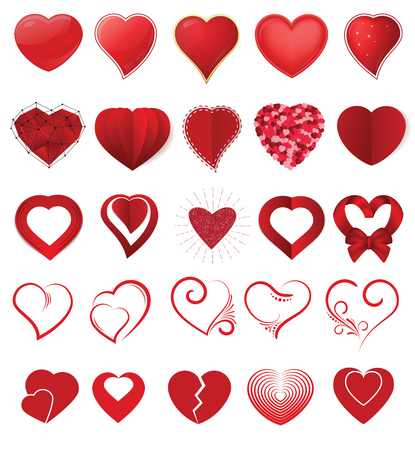 Heart on valentines day in love vector lovely red sign on heart shape celebration and greeting card with loving and heartiness set illustration isolated on white background Standard-Bild - 93695444
