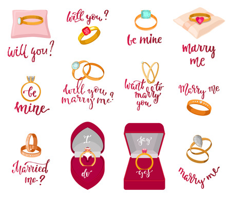 Wedding rings vector marriage proposal merry me text or wed lettering married me and textual calligraphy for bridal celebration invitation or card isolated on white background illustration