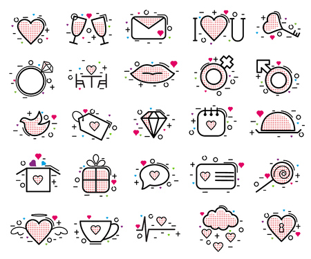 Valentines day icons vector heart in love and lovely red sign on heart shape celebration and greeting card with loving and heartiness set illustration isolated on white background