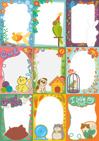 Frame kinderen foto vector afbeelding van tekenfilm dieren huisdieren of vogels op kinderen fotografie grens of kinderen fotolijsten sjabloon voor babyfoto in de kindertijd illustratie set Stock Illustratie