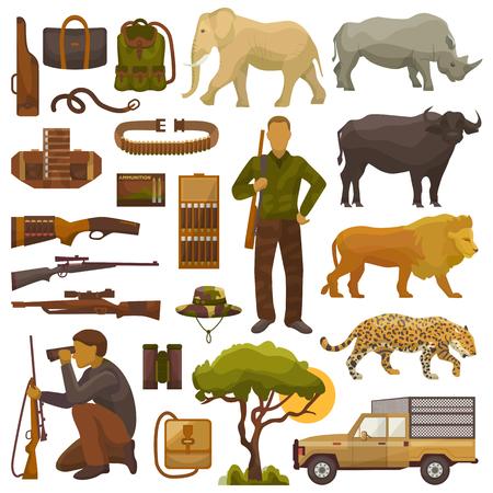 Jagen Sie Safari-Vektorjäger-Manncharakter in Afrika mit dem Jagdmunitions- oder -jägerausrüstungsgewehrschießen und gesetzter Illustration der afrikanischen Tierlöwe-Elefanten-wild lebenden Tiere, die auf weißem Hintergrund lokalisiert werden. Standard-Bild - 93622444