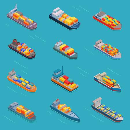 Tanker olie bulk vector isometrische tank schepen of vracht boten transport en isometrie transport over zee of oceaan instellen illustratie geoliede vaartuig geïsoleerd op witte achtergrond