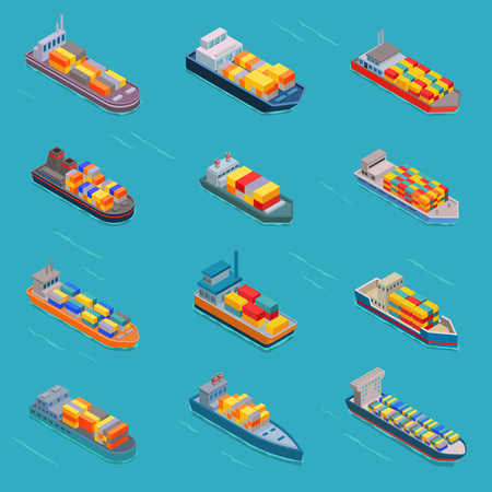 Tanker oil bulk vector isometric tank ships or cargo boats transport and isometry transportation by sea or ocean set illustration oiled vessel isolated on white background Vectores