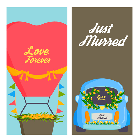 Bruiloft mode vervoer traditionele kaarten auto dure retro ceremonie bruid vervoer en romantische huwelijk vectorillustratie.