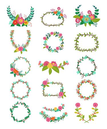 Coroa de flores vetoriais grinaldas de flores e decorações florais para decorar ou respirar quadro florido com folhas de grinaldas para ilustração de cartão de casamento isolado no fundo branco Foto de archivo - 93889420