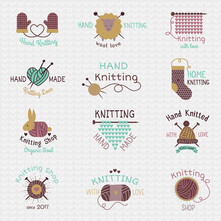 Knitting needles vector wool knitwear or knitted woolen socks crocheting woolly materials and handknitting illustration isolated on white background. Ilustração