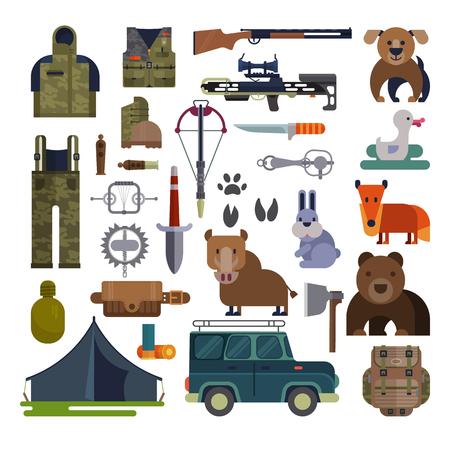 Jagen vector jacht munitie of jagers apparatuur geweer schieten en rugzak in kamperen met dieren eend beer, zwijn en jachthond instellen illustratie geïsoleerd op een witte achtergrond. Stockfoto - 93879583