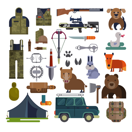 Hunt vector hunting ammunition or hunters equipment rifle shooting and backpack in camping with animals duck bear, boar and huntingdog set illustration isolated on white background.