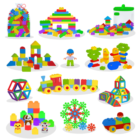Kids building blocks vector baby toys colorful bricks for construction in playroom where children build or construct tower illustration set of child blocks games isolated on white background