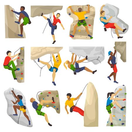 Bergsteigen Vektor Kletterer klettert Steinmauer oder Türkis und Menschen in extremen Sport Mann überqueren Illustration Set von der Konstellation isoliert auf weißem Hintergrund Vektorgrafik