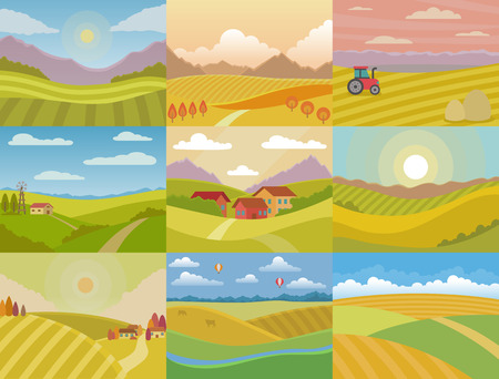 Landscape vector meadow field landscaping countryside of nature with horizon sunlight country landscaped view set illustration isolated on white background