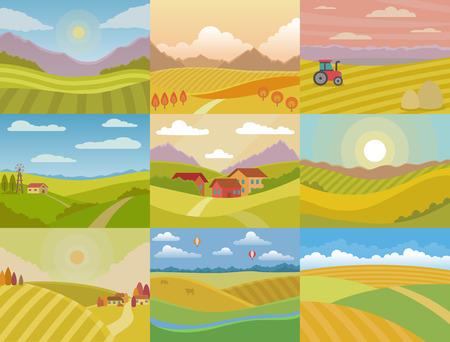 Krajobraz wektor łąka krajobraz krajobraz wsi przyrody z horyzontem światło słoneczne kraj krajobrazowy widok zestaw ilustracji na białym tle