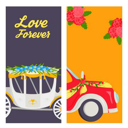 Wedding fashion transportation traditional cards auto expensive retro ceremony bride transport and romantic marriage vector illustration.