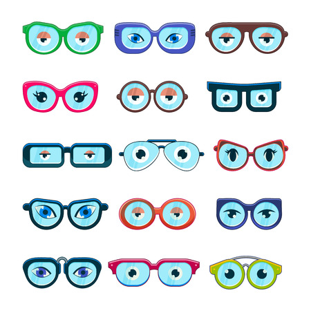 Glasses with eyes vector cartoon eyeglass frame or sunglasses in shapes and accessories for hipsters fashion optical framing spectacles eyesight view set illustration isolated on white background Illustration