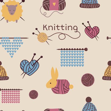 Breinaalden patroon naadloze vector wol breigoed achtergrond of gebreide wollen sokken logo haken wollige materialen achtergrond en hand breien illustratie behang.