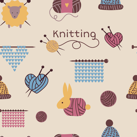 Knitting needles pattern seamless vector wool knitwear background or knitted woolen socks logo crocheting woolly materials backdrop and handknitting illustration wallpaper.