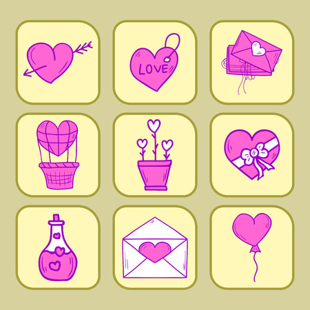 Wedding outline icons vector illustration. Married celebration music groom invitation elements. Valentine day hand drawn ceremony collection. Illustration