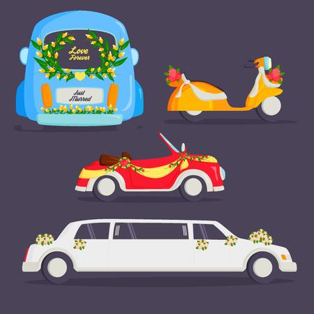 Bruiloft mode vervoer traditionele auto dure retro ceremonie bruid vervoer en romantische bruidegom huwelijk schoonheid liefde auto vectorillustratie. Reizen paar romantiek auto.