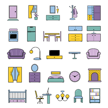 Furniture seamless pattern vector furnishings design in interior of bedroom, or living room with sofa bed armchair and chair, in furnished apartment of house illustration background.