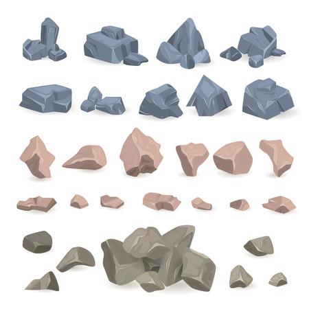 岩山の岩山の石岩ベクトル岩石石と石造りの地質材料と石の鉱物イラストセット白い背景に隔離  イラスト・ベクター素材