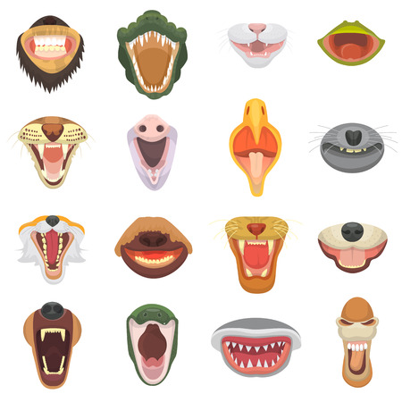 Animals' mouth vector set on white background. Illustration