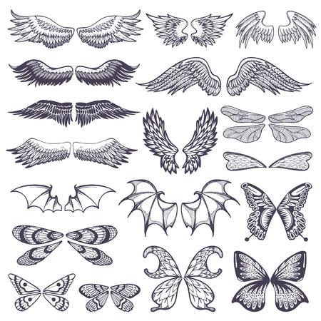 白い背景に隔離された入れ墨セットのための翼のイラスト