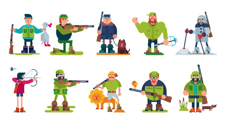 Hunter vector cartoon character of huntsman hunting with gun in forest, man in hat hunts with rifle or shotgun illustration set. Isolated on white background.