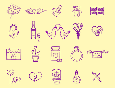 Wedding outline icons vector illustration. Married celebration, groom invitation elements. Valentine day hand drawn ceremony collection.