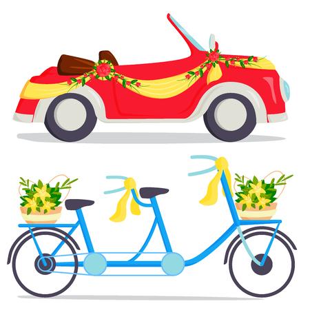 Van de het vervoer het traditionele auto dure retro ceremonie van de huwelijksmanier de bruidvervoer en de romantische van de de schoonheidsliefde van de bruidegomhuwelijk automobiel vectorillustratie.