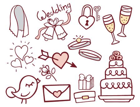 Ilustração do vetor de ícones de mão desenhada de contorno de casamento Foto de archivo - 94466287