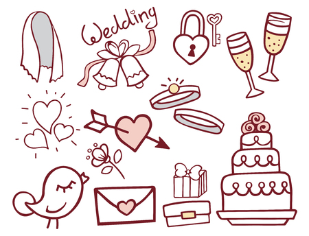 Wedding outline hand drawn icons vector illustration