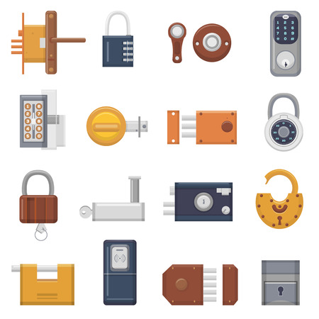 Set of different locks vector Illustration