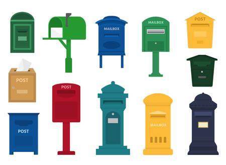 Set of mailbox vector  イラスト・ベクター素材