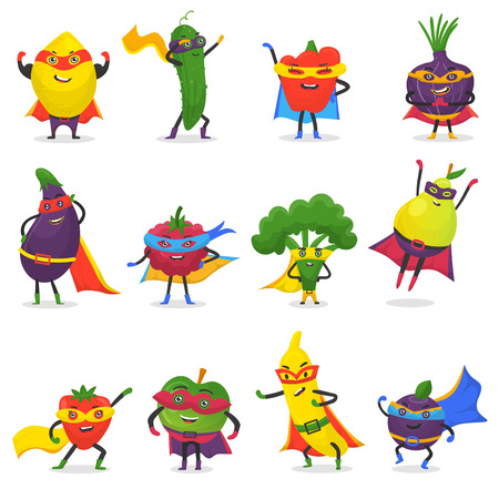 Superhero fruits vector fruity cartoon character of super hero expression vegetables with funny apple banana or pepper in mask illustration fruitful vegetarian diet set isolated on white background Vettoriali