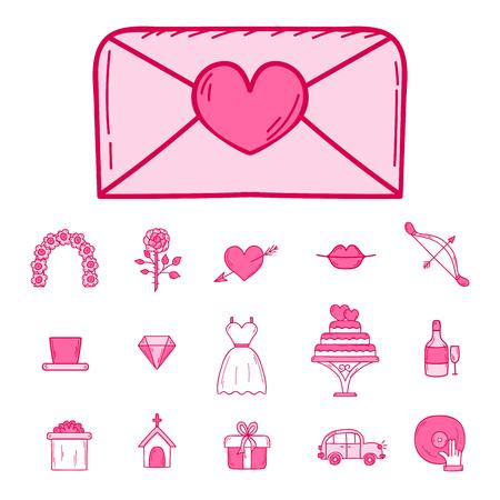 Wedding outline married engagement icons vector illustration. Illustration