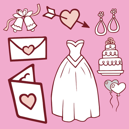 Wedding outline hand drawn icons vector illustration married celebration music groom invitation elements.