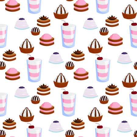 Wedding cake pie sweets dessert bakery flat simple seamless pattern background style vector illustration. Gourmet homemade delicious cream traditional bakery tart. Illustration
