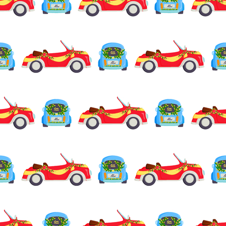 Wedding fashion transportation traditional auto seamless pattern background bride transport and romantic groom marriage beauty love automobile vector illustration. Vettoriali
