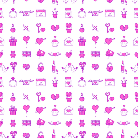 Wedding outline icons seamless pattern background vector illustration. Married celebration music groom invitation elements. Valentine day hand drawn ceremony.