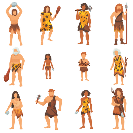 Primitive people vector primeval neanderthal cartoon character and ancient caveman in stone age cave illustration prehistoric man set isolated on white background