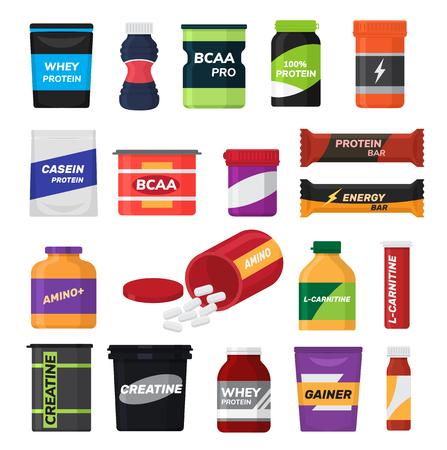 bodybuilding nutrition physique sport vecteur nutrition supplément avec protéines pour les poings illustration isolé sur fond blanc Vecteurs