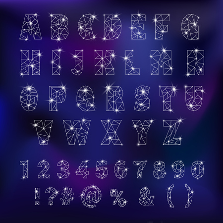 Alphabet font with star constellation illustration.