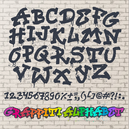 Alphabet graffiti font in brush stroke typography illustration isolated on brick wall background