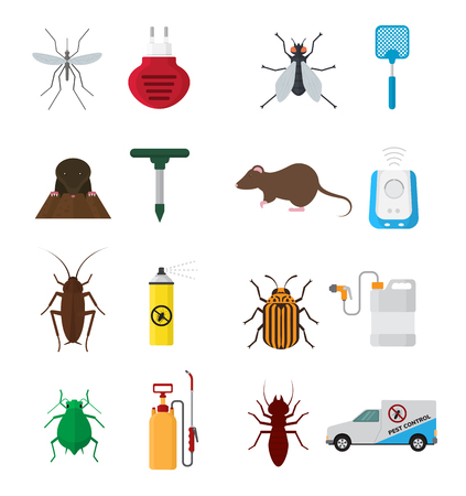 Set of insects control icon illustration.