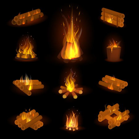 Fire flame or firewood illustration Vettoriali