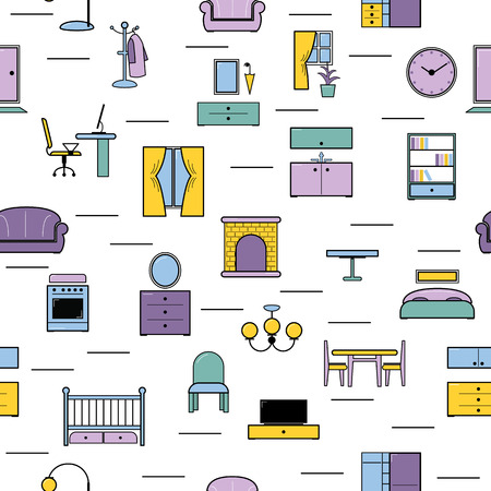 Furniture seamless pattern vector furnishings design in interior of bedroom or living room with sofa bed armchair and chair in furnished apartment of house illustration background