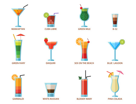Set of alcoholic cocktails fruit cold drinks tropical cosmopolitan freshness collection and party alcohol sweet tequila vector illustration. 向量圖像