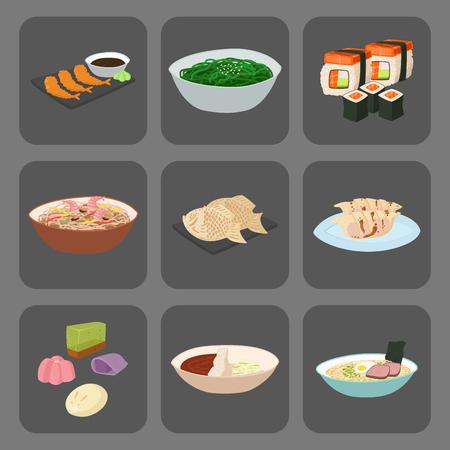 日本ベクターフード 伝統料理文化 寿司ロールとシーフードランチ 日本料理イラスト  イラスト・ベクター素材
