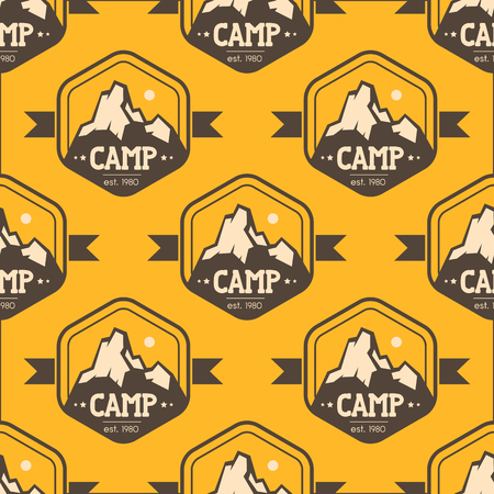 Mountain with the word camp seamless pattern background illustration